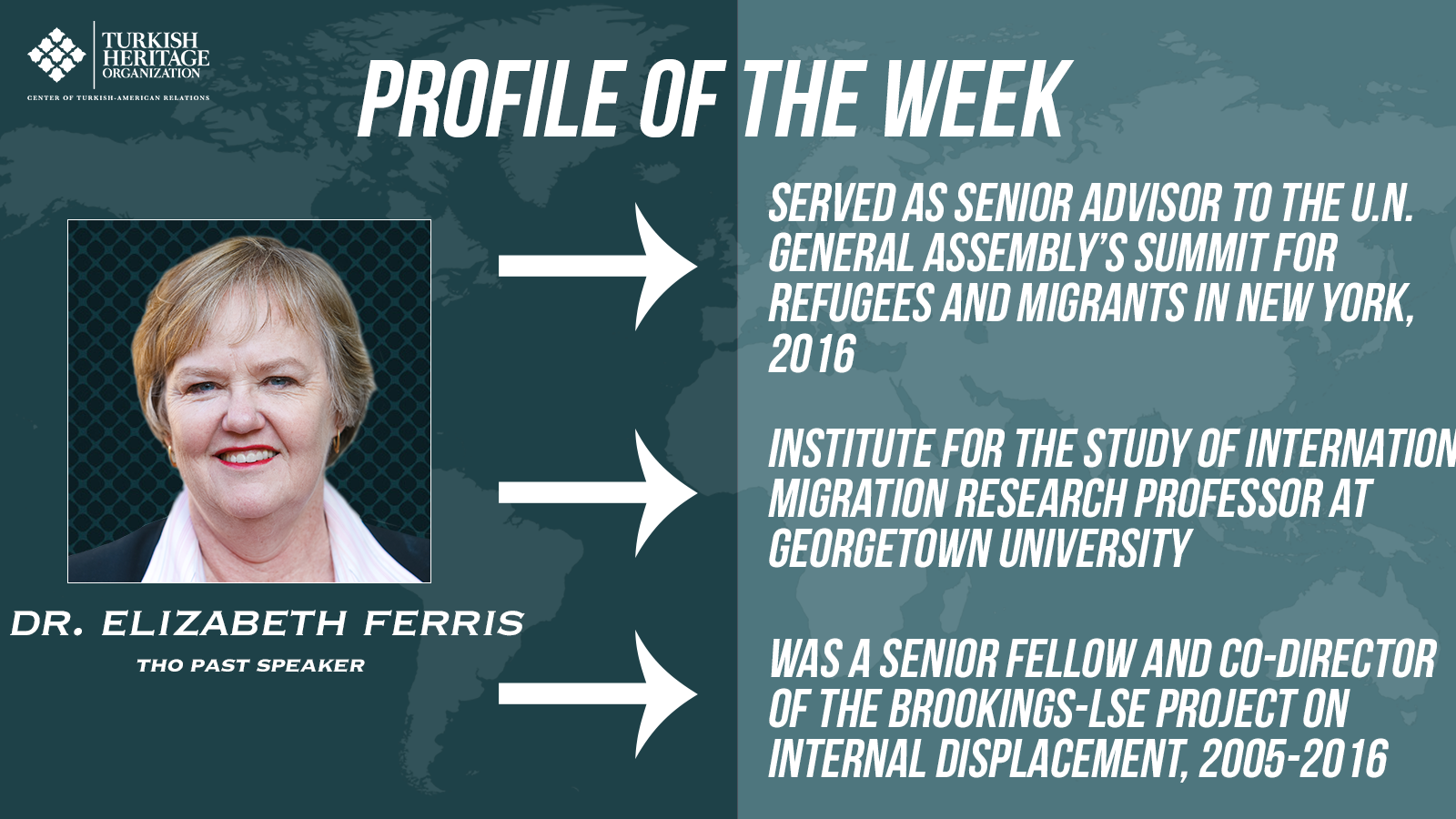 Dr. Elizabeth Ferris is a research professor at Georgetown University's Institute for the Study of International Migration and completed a 9 year tenure as a senior fellow at the Brookings Institute.